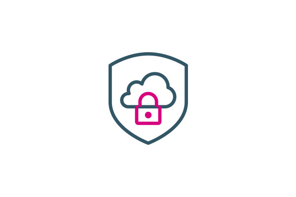 Icon of cloud and lock illustrating secure cloud apps